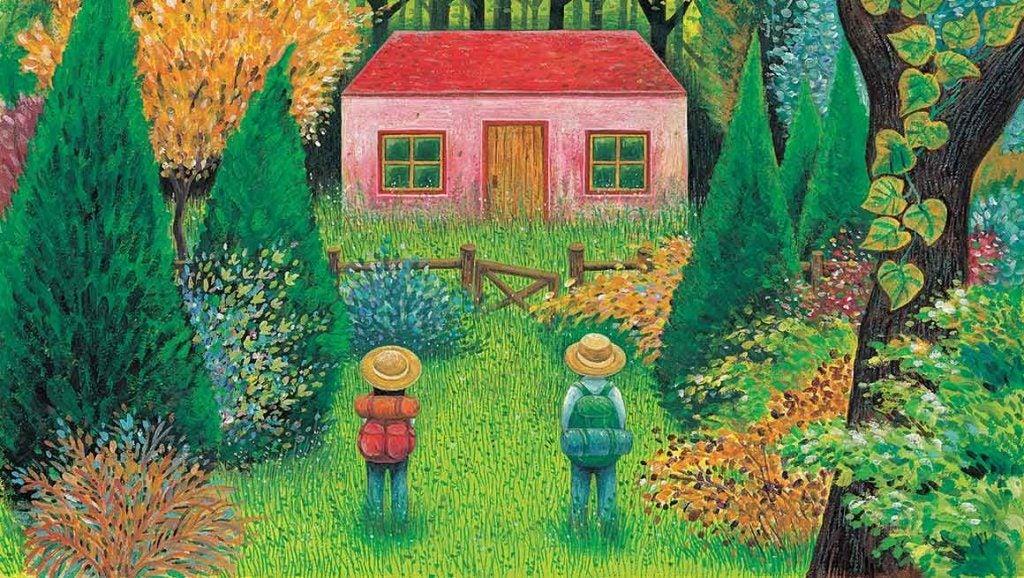 家の前に立つ二人