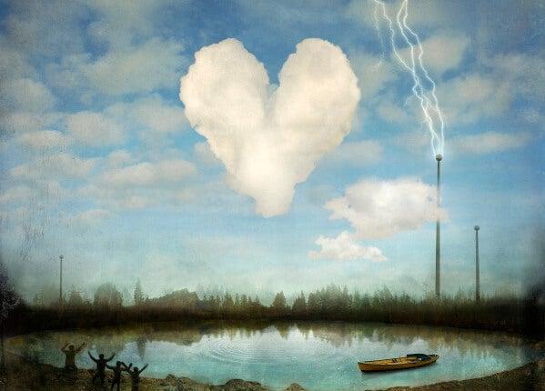 ハートの雲と光