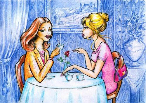 お茶を飲む女性達
