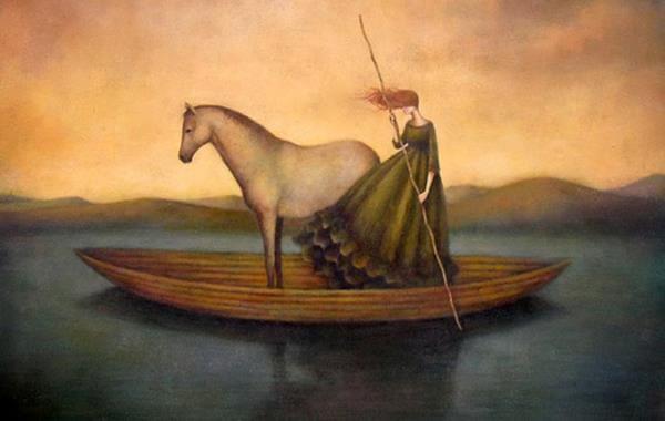 ボートに乗る馬と女性