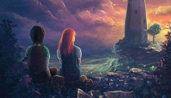 灯台を見つめる二人