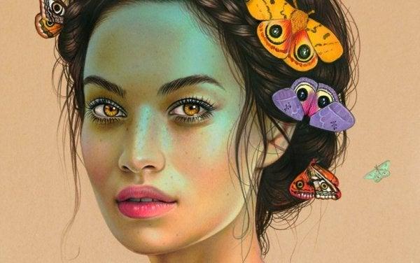 緑の顔の女性と蛾