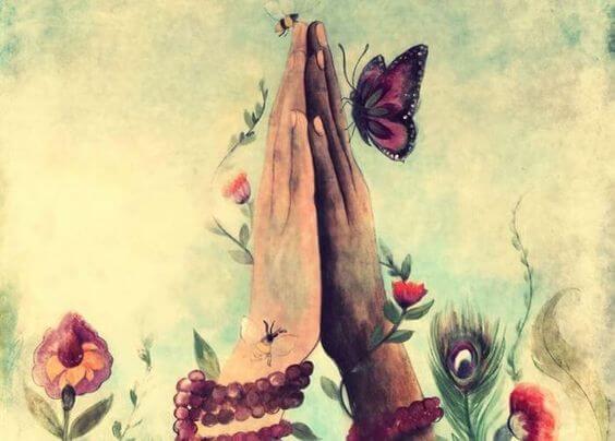 合わせた手に止まる蝶
