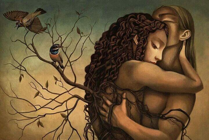 抱き合う男女にまとわりつく木
