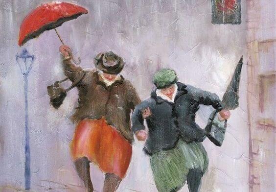 傘をさして陽気に歩く二人の老人