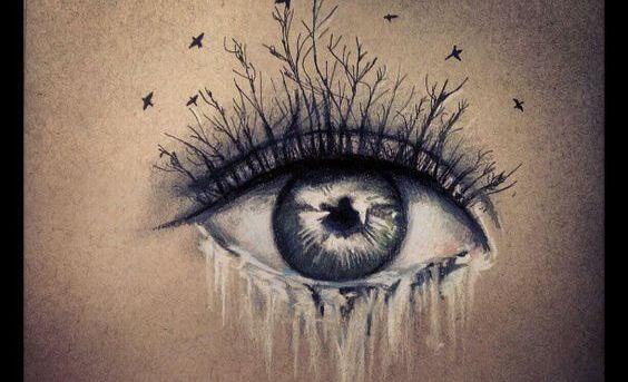 涙を流す目と木の睫毛