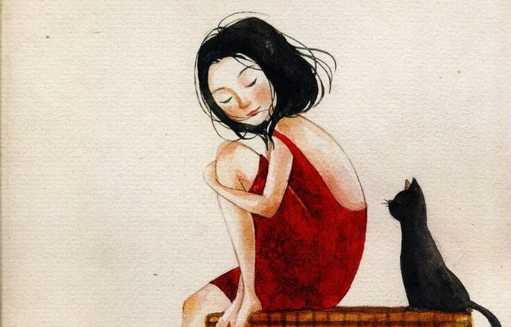 赤い服を着た少女と黒猫