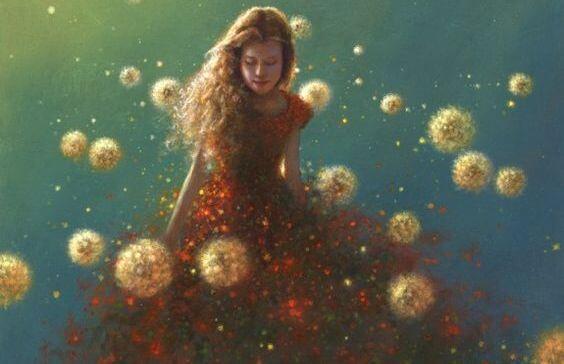 赤いドレスの粒子の女性