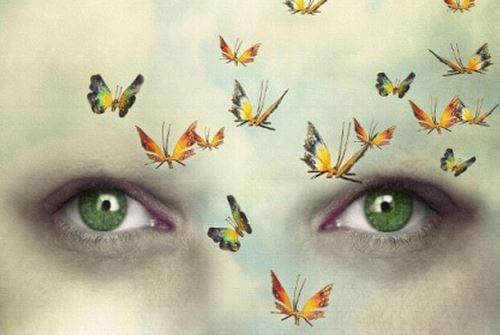緑の目の女性と蝶