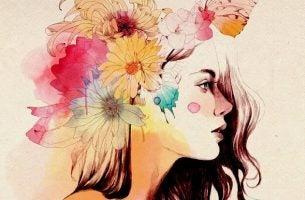 頭に花飾りをつけた女性