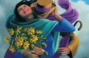 黄色い花をもった抱き合う二人