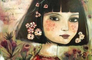 髪に花をちりばめた少女
