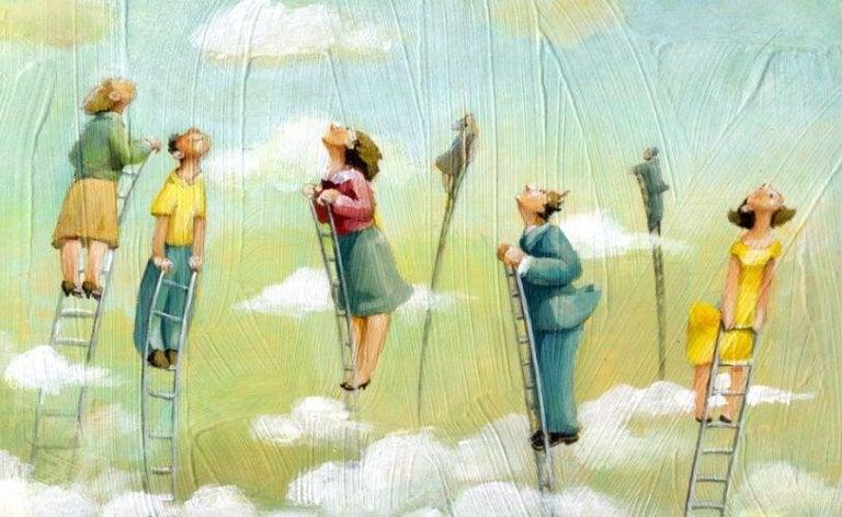 梯子で雲の上へ上る人々