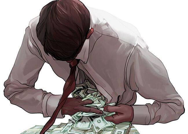 体にお金を詰め込む男性