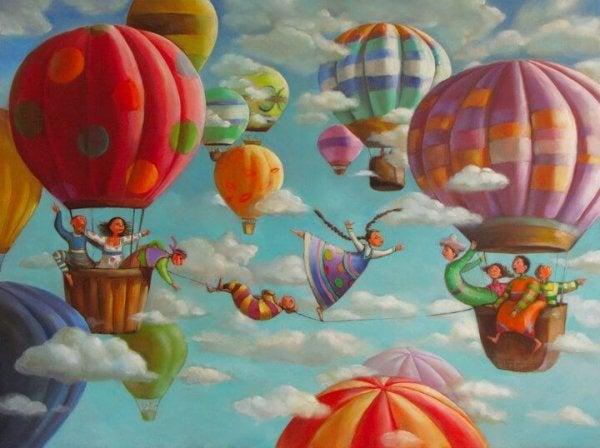 気球の間の綱渡り