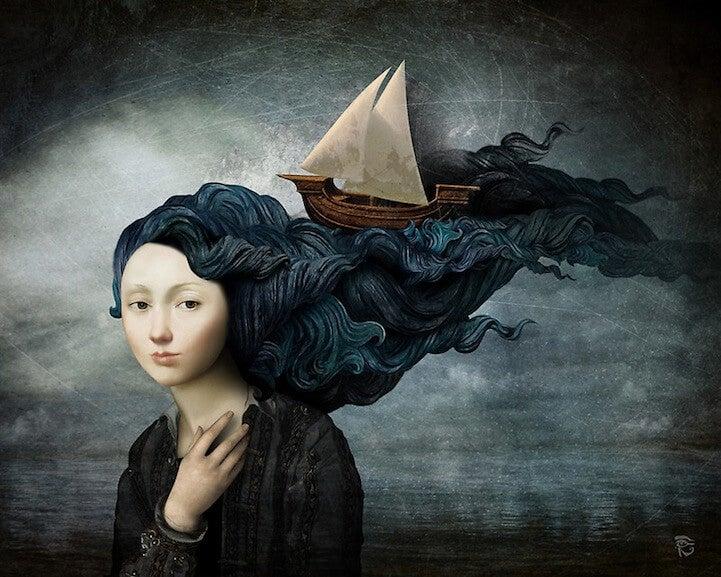 女性の髪の海を漂う船