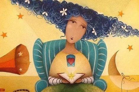 星が入った本を持った女性