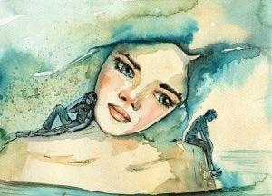 女性の形の島と二人の人