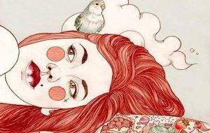赤毛の女性とインコ