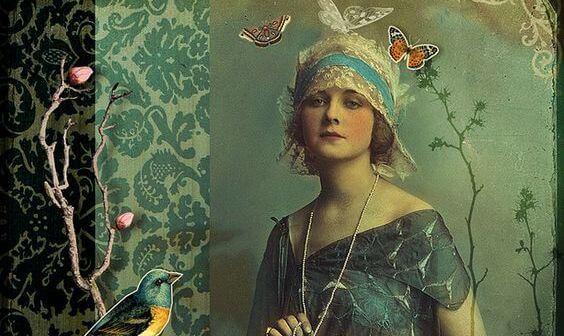蝶と女性の絵画