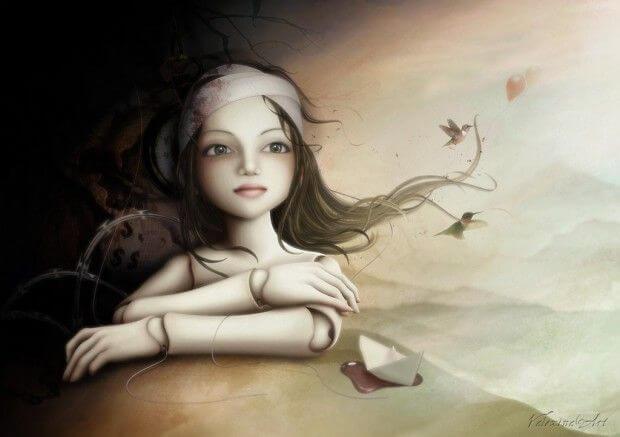 包帯を巻いた操り人形の少女