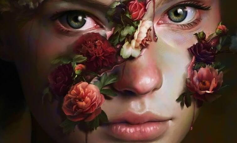 バラの花をまとった女性の顔