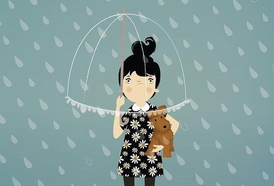 布のない傘をさす少女