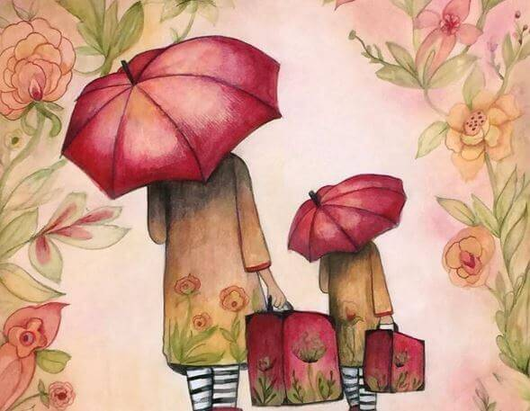 傘をさす親子