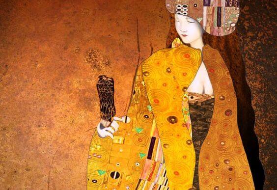 金色の服をまとった女性