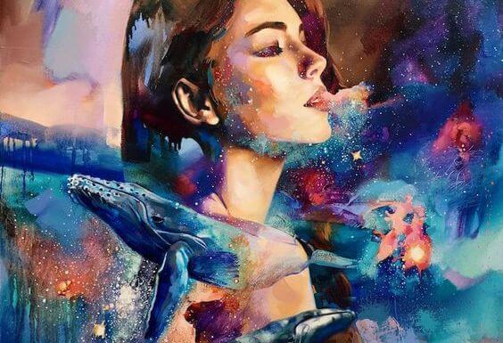 クジラと女性と星空