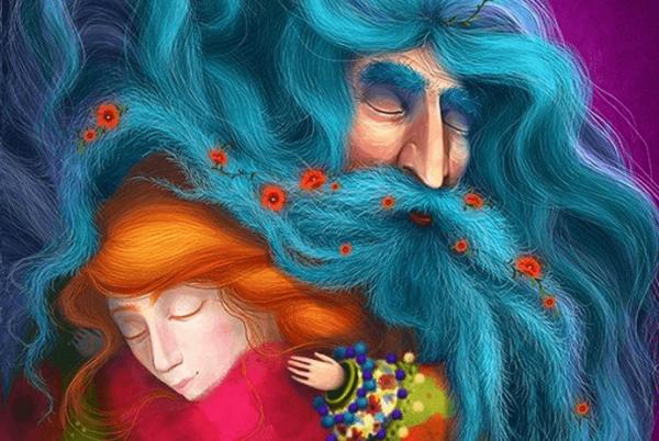 赤毛の女性と青毛の老人