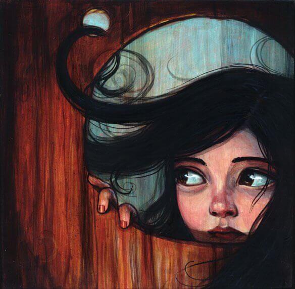 穴から覗く少女