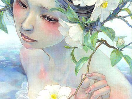 白い花を引き寄せる少女
