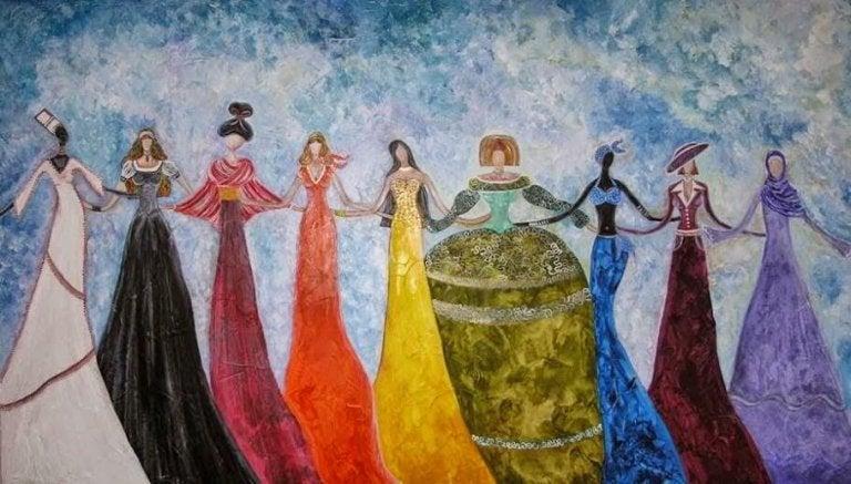 手を組みあう世界中の女性