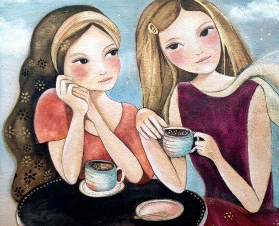 コーヒーを飲む二人の女友達
