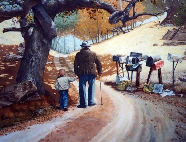 散歩する老人と子供