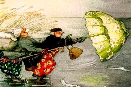 傘をつかむ二人の老人