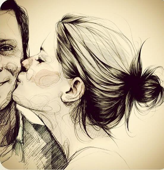 ほほにキスする女性