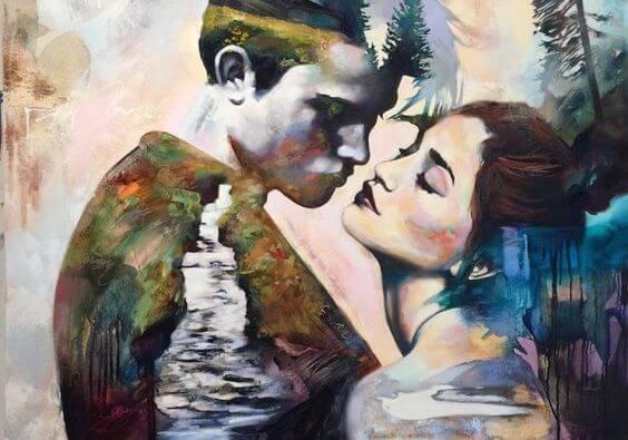 女性とキスしようとする男性
