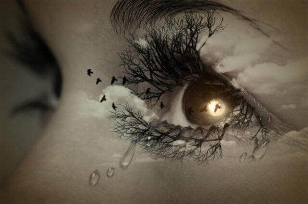 女性の目に映る空