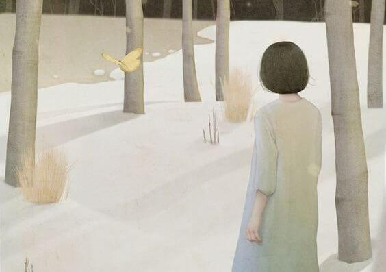 雪原の森の少女