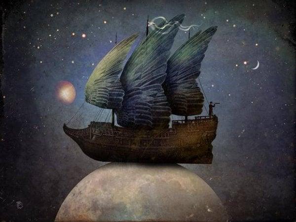 月の上に乗る羽の船