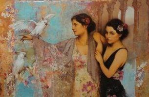 鳥と二人の女性