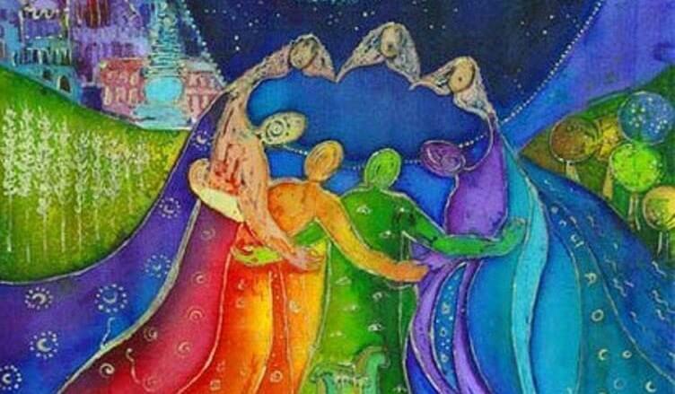肩を組む七色の人々