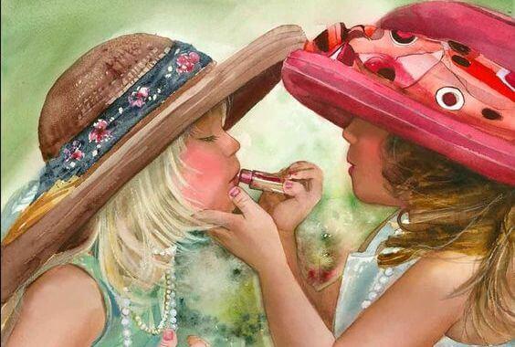 口紅を塗りあう姉妹