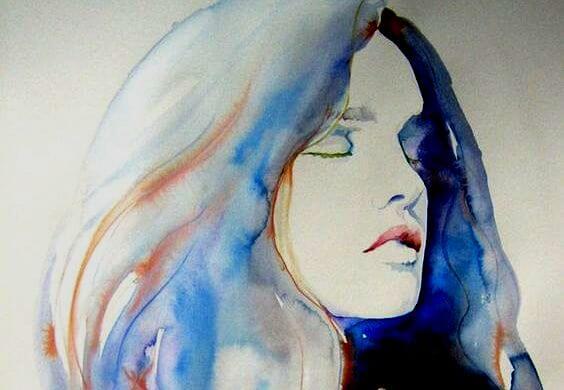 水彩画の目を閉じる女性