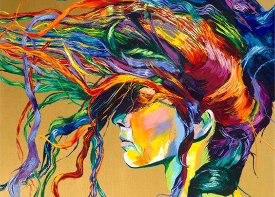 色とりどりの髪の女性
