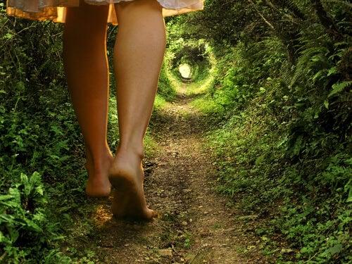 森のトンネルを歩く女性