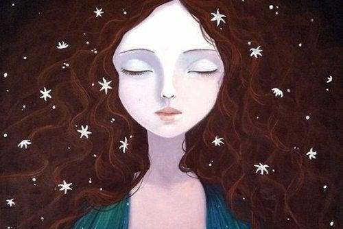 髪に星をちりばめた女性
