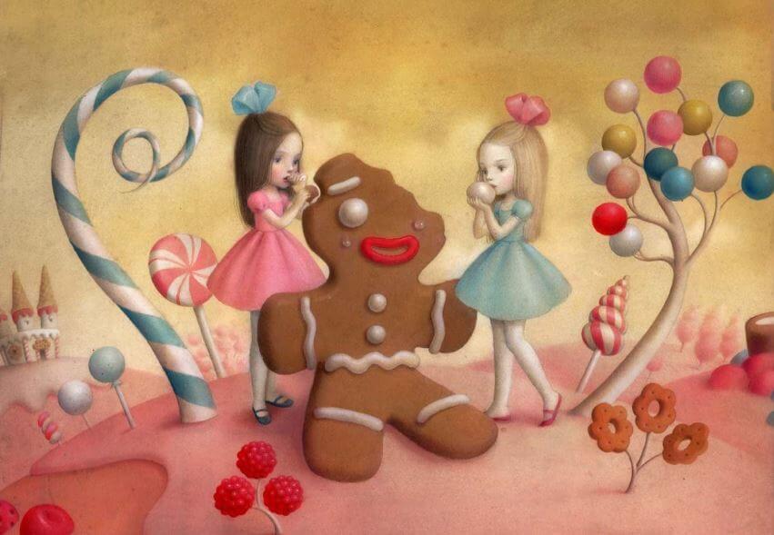 ジンジャーブレッドを食べる2人の少女